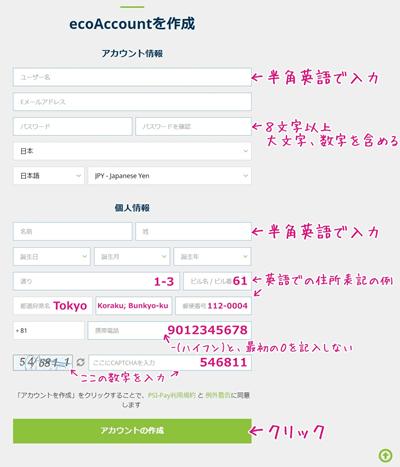 エコペイズのアカウント登録画面