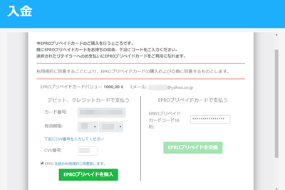 visa epro のプリペイド購入画面