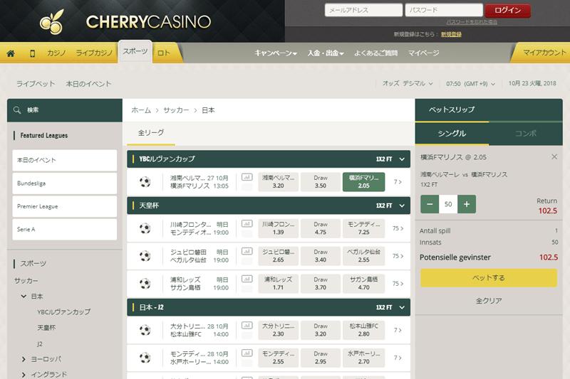 チェリーカジノのオッズ表