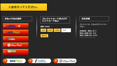 エンパイアカジノのVISA・MasterCard入金方法1(PC)
