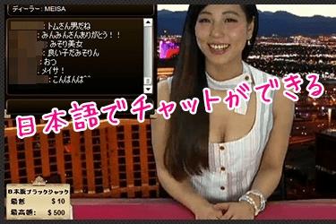 日本語でできるライブチャットの様子