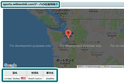 ウィリアムヒルのサーバー位置情報