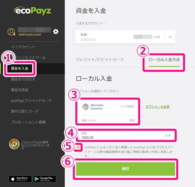 ビットコインをecoPayzに入金する1(PC)