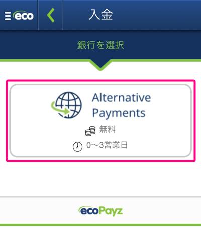 ビットコインをecoPayzに入金する4(スマホ)