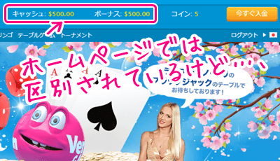 ベラジョンカジノのホームページの金額部分