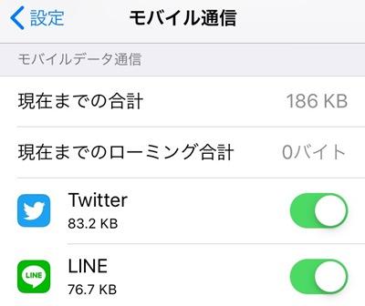 他のアプリの通信料