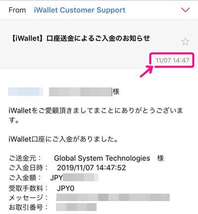 iWalletの入金通知
