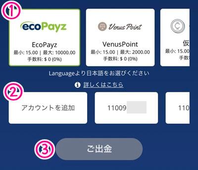 ecoPayz の出金方法