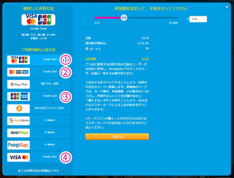 ベラジョンカジノの入金画面